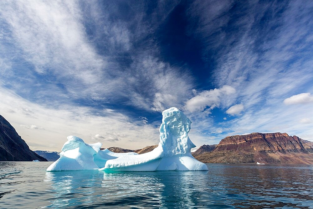 Large iceberg calved from a nearby glacier in Blomster Bugten, Flower Bay, Greenland, Polar Regions - 1112-5844