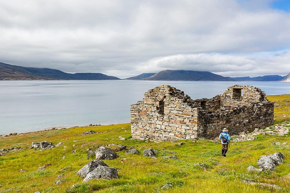 Church at Greenland's largest, best-preserved Norse farmstead ruins at Hvalsey, Qaqortukulooq, Greenland, Polar Regions - 1112-5847