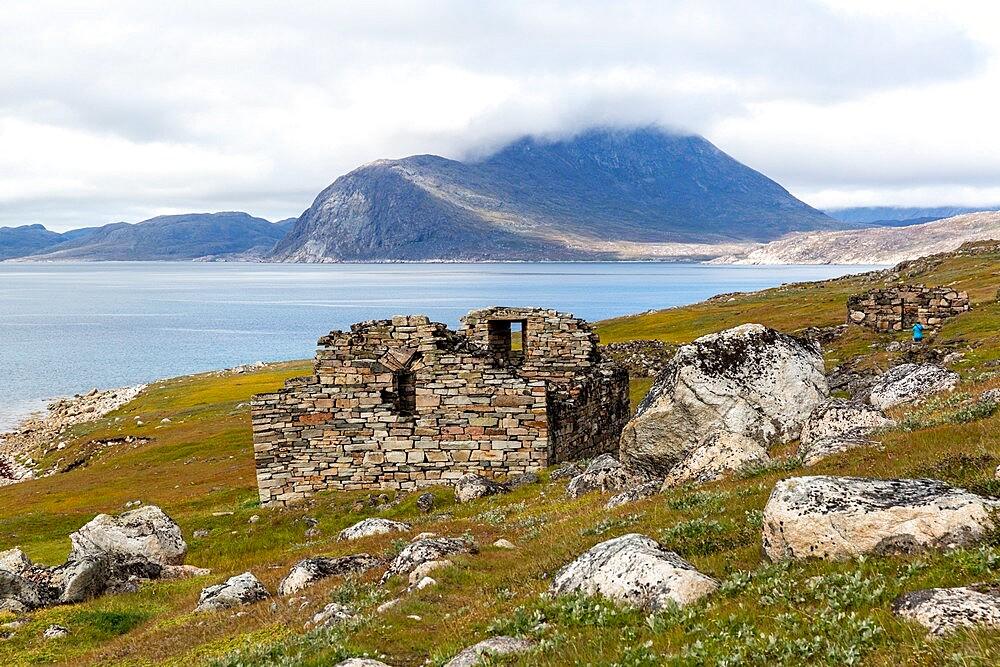 Church at Greenland's largest, best-preserved Norse farmstead ruins at Hvalsey, Qaqortukulooq, Greenland, Polar Regions - 1112-5848