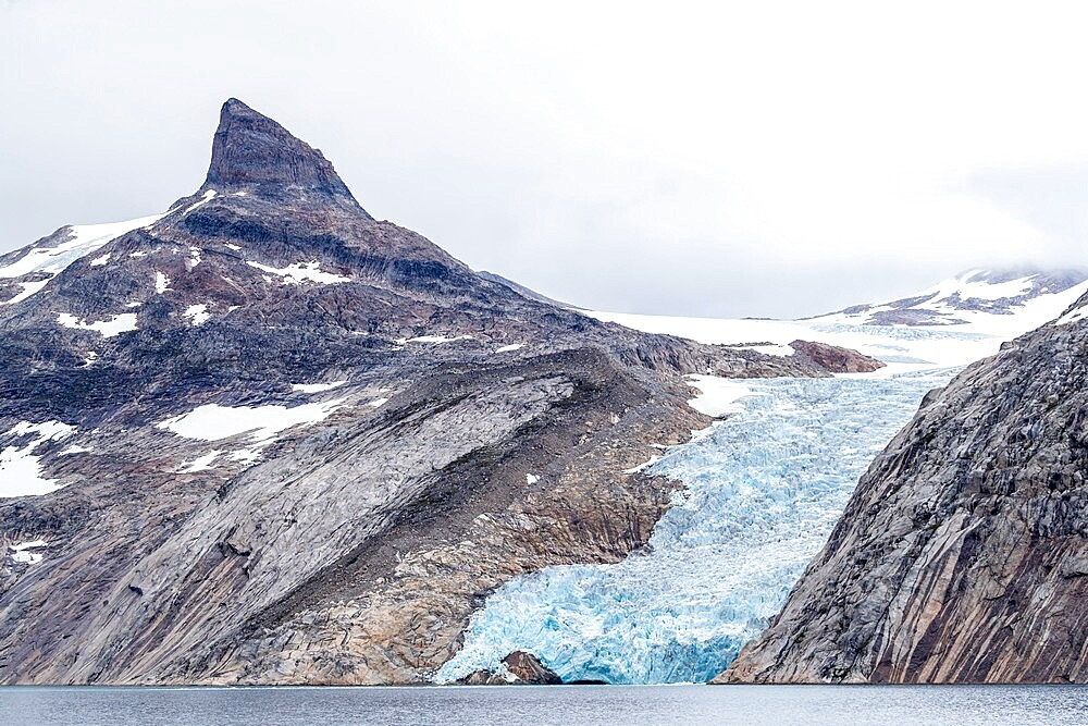 The tidewater Igdlorssuit Glacier reaching down to the sea, Prins Christian Sund, Greenland, Polar Regions - 1112-5853