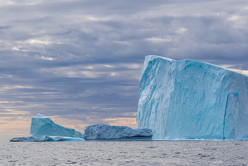 Huge icebergs at Cape Brewster, the easternmost point of the jagged and mountainous Savoia Peninsula, Greenland, Polar Regions - 1112-5863