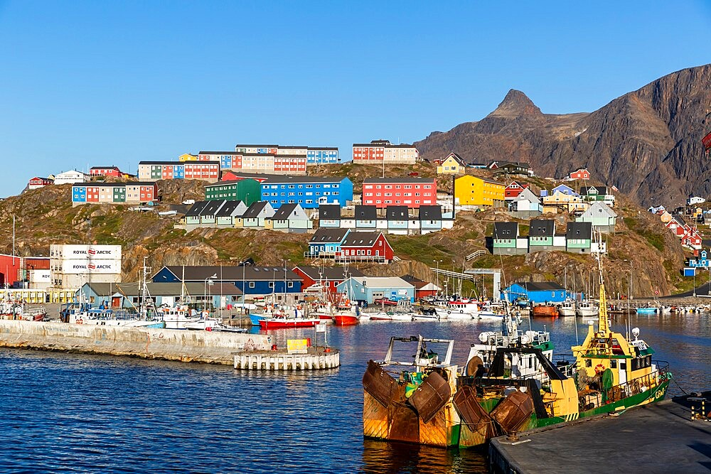 The harbor in Sisimiut, in Danish Holsteinsborg, on Davis Strait, the second-largest city in Greenland, Polar Regions - 1112-5868