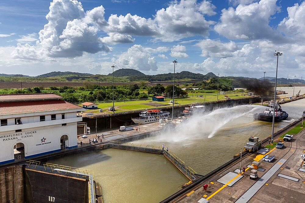 Ships in transit in the Miraflores Locks towards Lake Gatun, near Gamboa, Panama Canal, Panama, Central America - 1112-5875