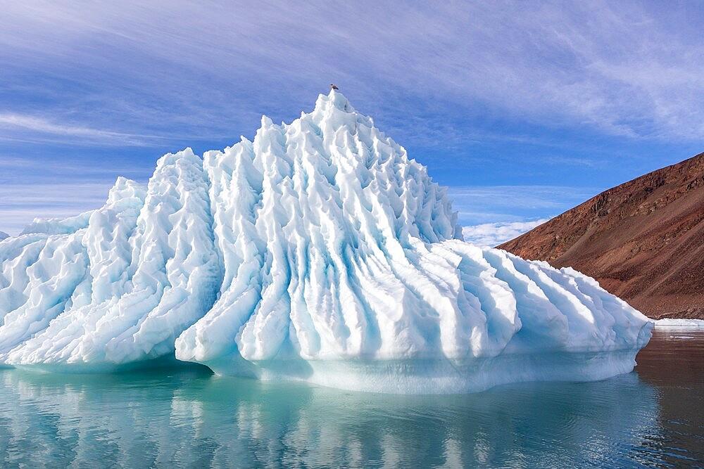 Iceberg calved from glacier from the Greenland Icecap in Bowdoin Fjord, Inglefield Gulf, Baffin Bay, Greenland, Polar Regions - 1112-5880