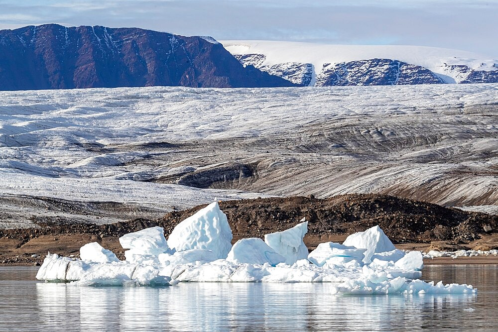 Iceberg calved from glacier from the Greenland Icecap in Bowdoin Fjord, Inglefield Gulf, Baffin Bay, Greenland, Polar Regions - 1112-5881