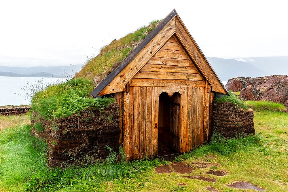 Norse chapel at the reconstruction of Erik the Red's Norse settlement at Brattahlid, southwestern Greenland, Polar Regions - 1112-5891