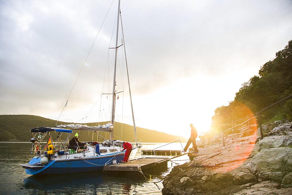Sailing boat at a jetty, Lim canal, Istria, Croatia - 1113-104452