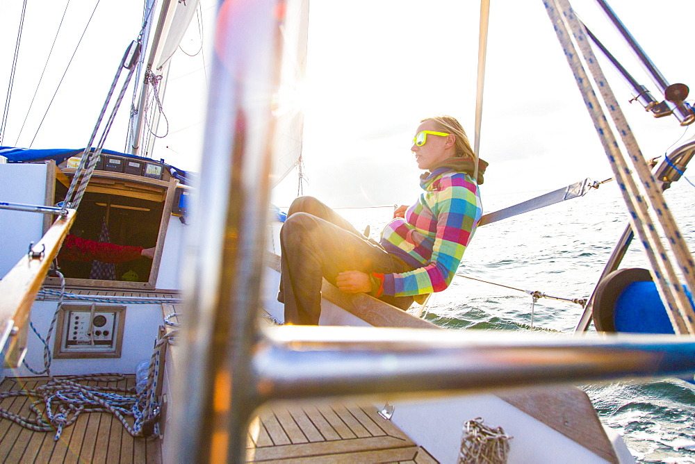 Woman on a sailing boat in sunset, Istria, Croatia - 1113-104455