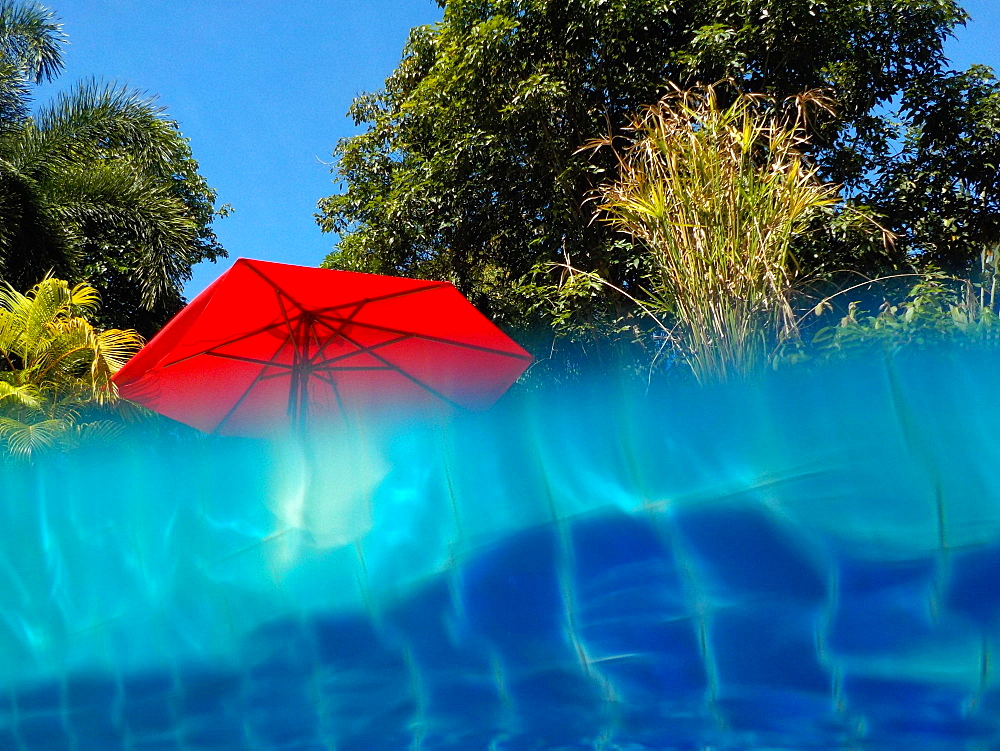 Pool and sunshade, Island of Mak, Golf of Thailand, Thailand - 1113-104759