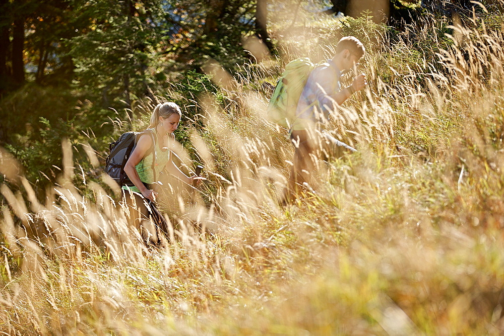 A man and a woman hiking in the mountains, Oberstdorf, Bavaria, Germany - 1113-104813
