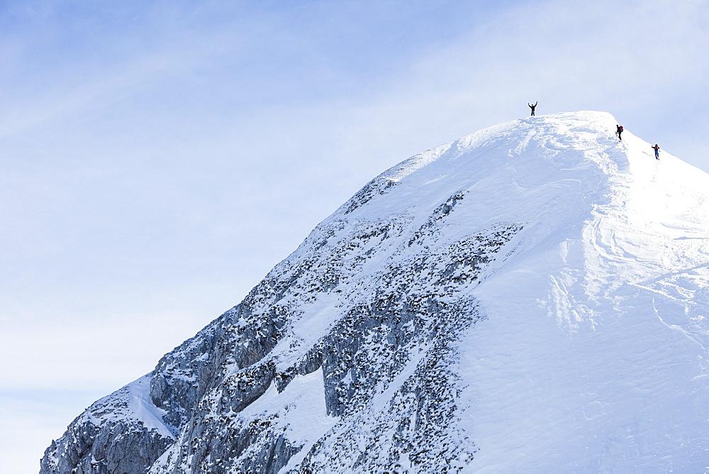 Backcountry skiers on Sonntagskogel peak, Tennengebirge mountains, Salzburg, Austria - 1113-104868