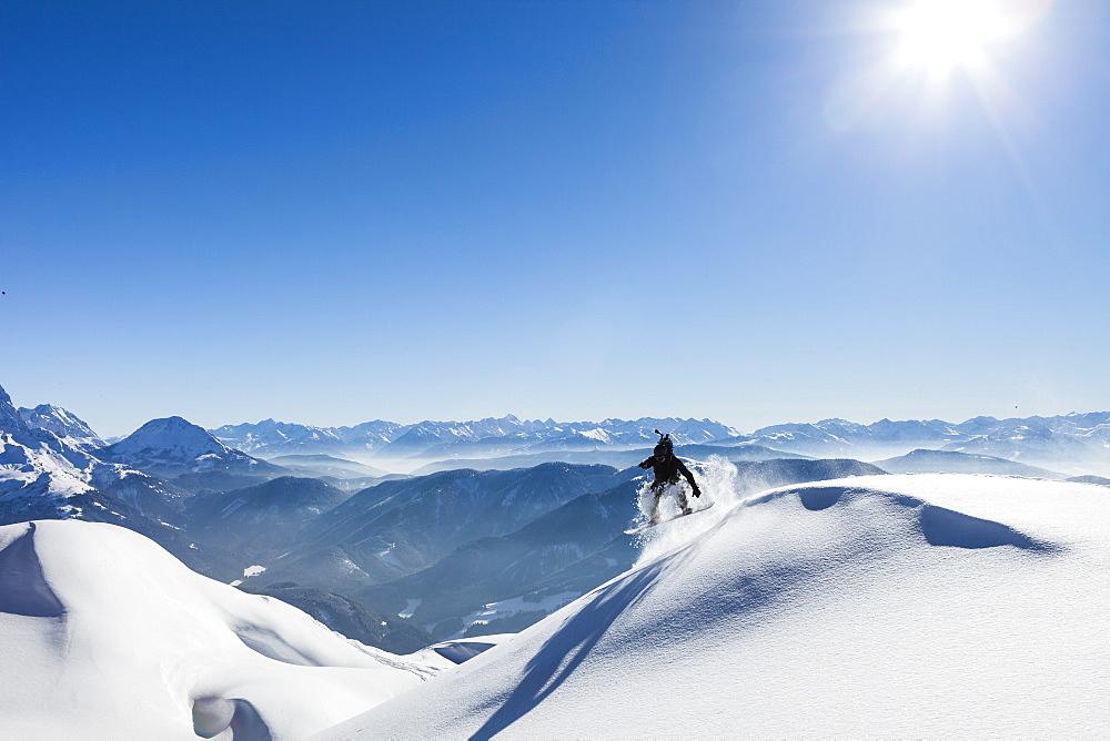 snowboarder in the Tennengebirge mountains, Salzburg, Austria - 1113-104874