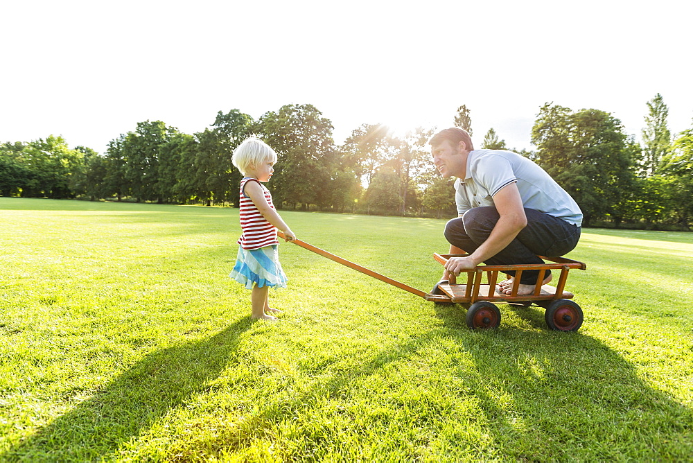 two-year-old girl pulling her father across the meadow, Speyer, Rheinland-Pfalz, Germany - 1113-104911