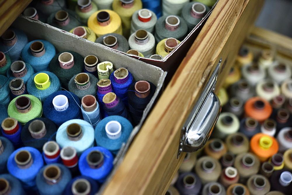 Sewing garns at a dressmakers in Hamburg, Germany - 1113-104993