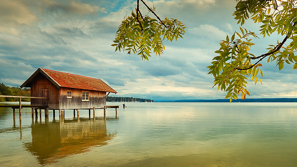 Boathouse at sunset on Ammersee, Bavaria, Germany - 1113-105285