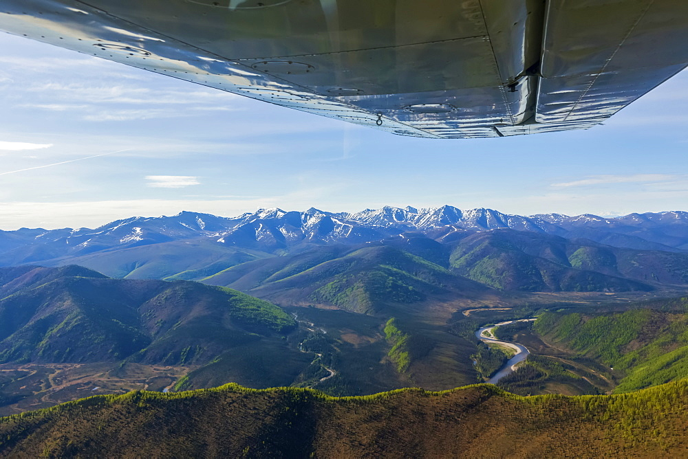 Flying in a small fixed-wing plane in the Yukon–Charley Rivers National Preserve, Alaska, United States of America