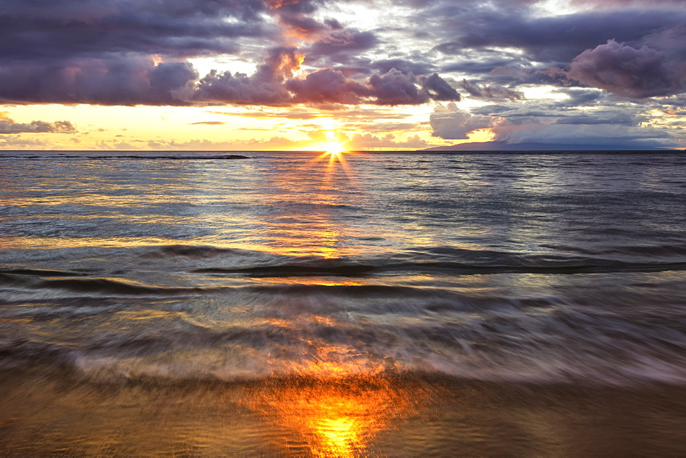 Beach sunset with soft water, Kihei, Maui, Hawaii, United States of America