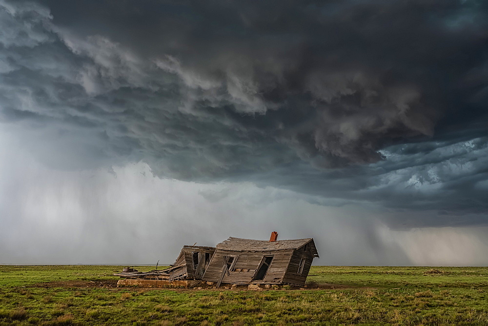 Dramatic skies over the landscape seen during a storm chasing tour in the midwest of the United States, Kansas, United States of America