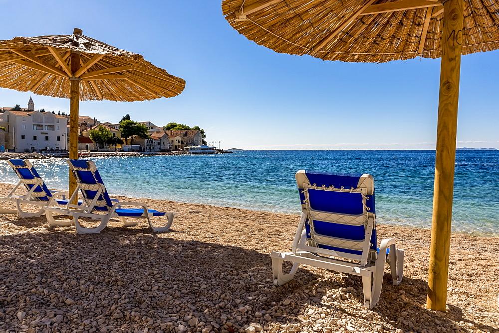 Famous beautiful Mala Raduca beach, Primosten, Croatia