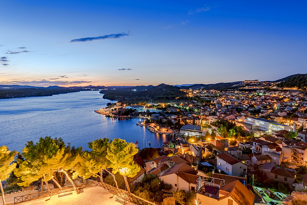 View of the city of Sibenik at night from St Michael's Fortress, Sibenik, Croatia