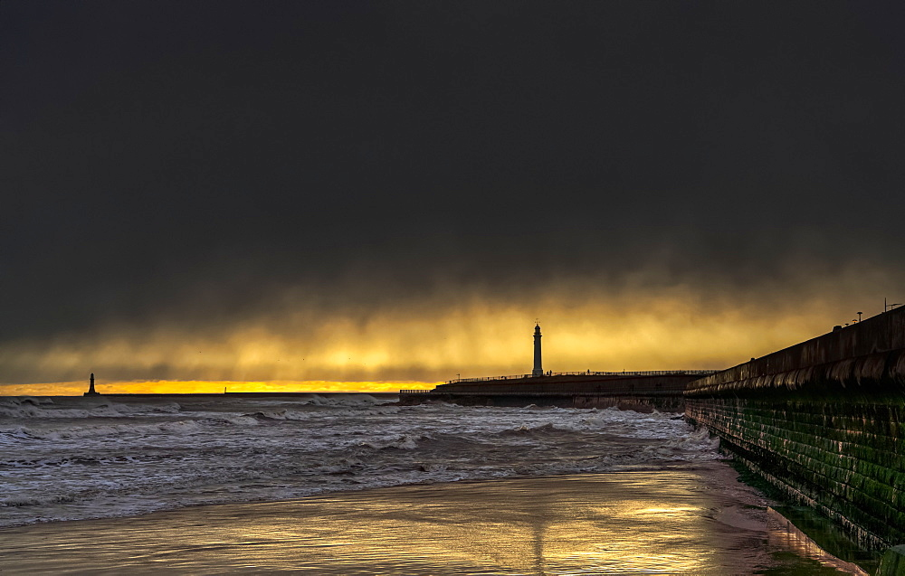 Roker Beach with pier and lighthouse, River Ware, Sunderland, Tyne and Wear, England