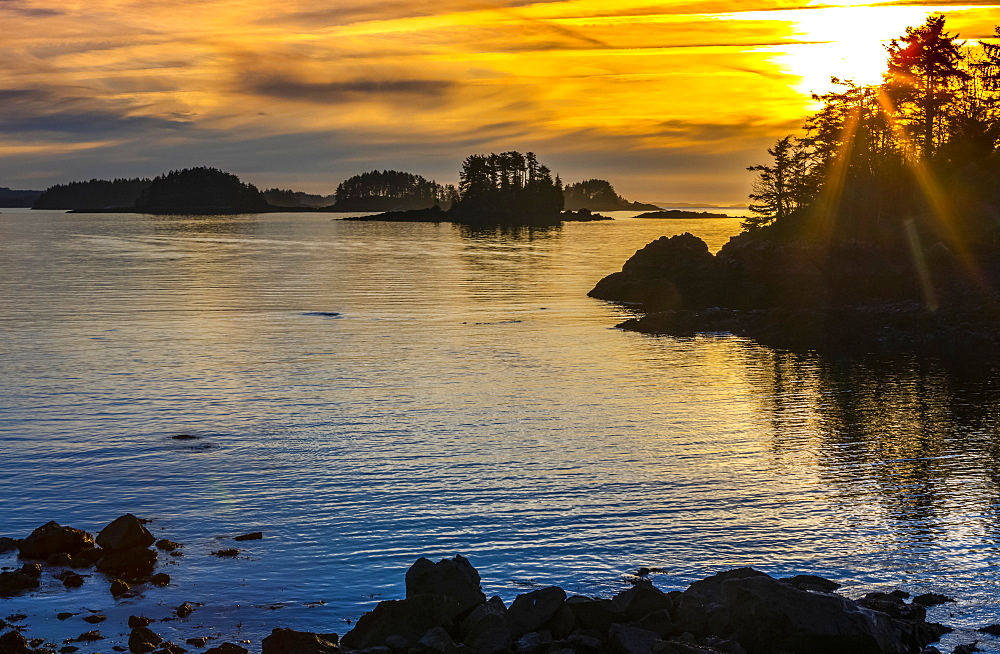 Winter sunset looking over Crescent Bay, Sitka, Alaska, United States of America