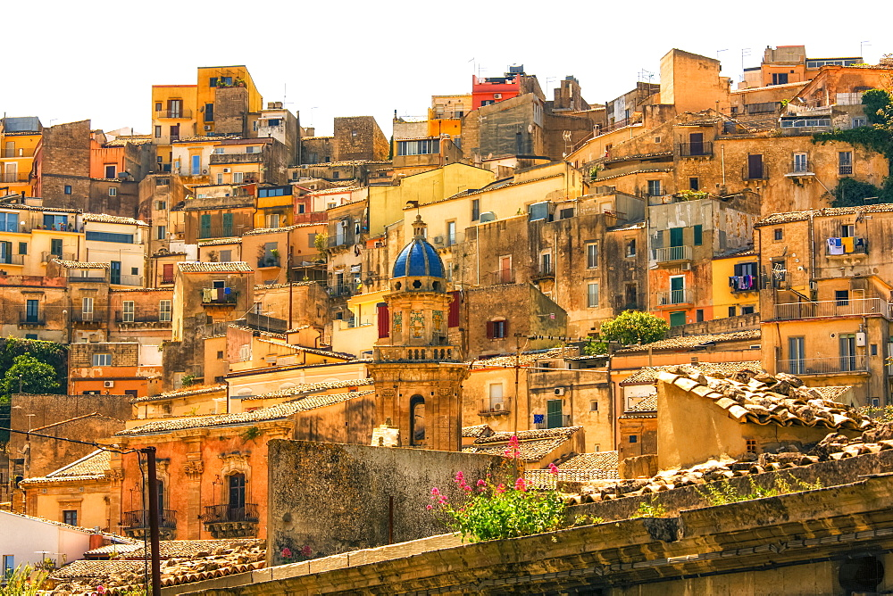 Houses on a hillside in the historic Ragusa ibla, Ragusa, Sicily, Italy