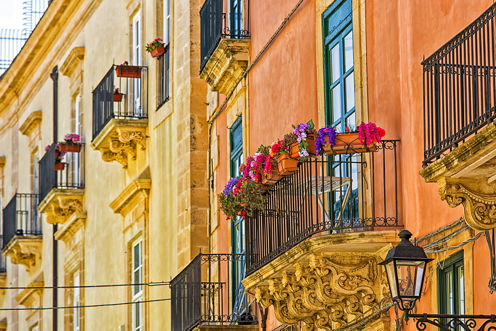 Facade of a residential building with balconies and blossoming plants, Syracuse, Sicily, Ortigia, Italy