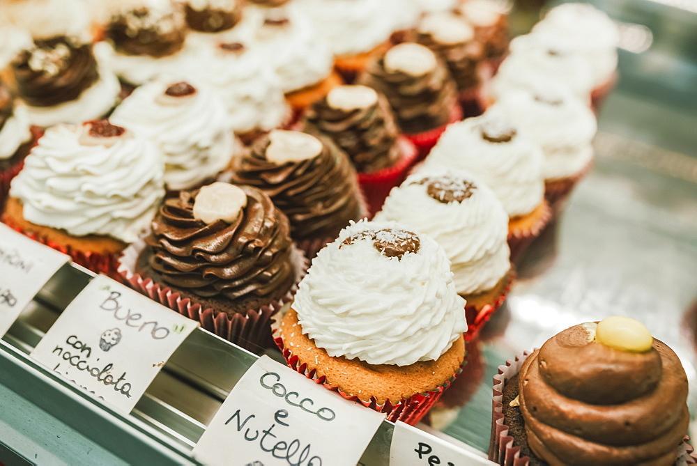 Baked goods on display in an Italian bakery, Italy