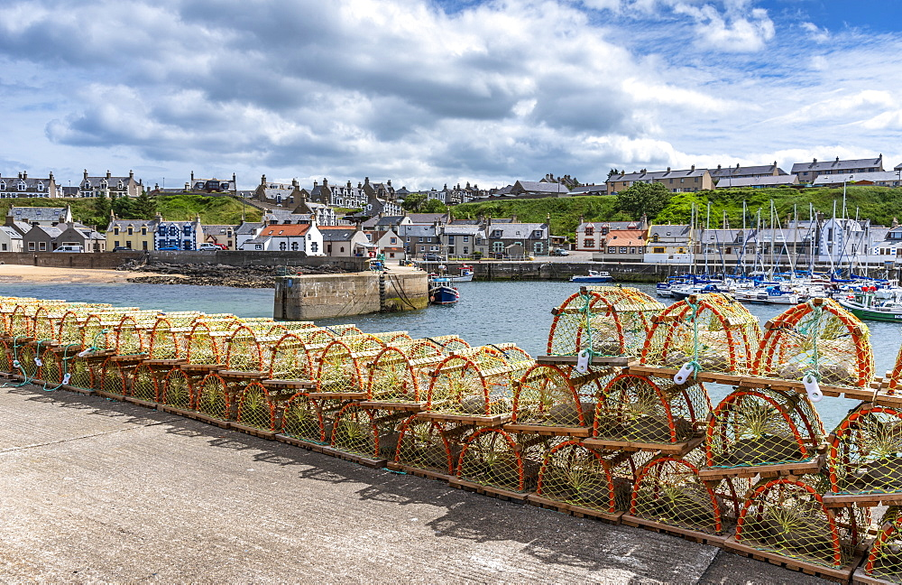 Lobster pots at Findochty harbour, Moray Firth, Scotland, Findochty, Moray, Scotland