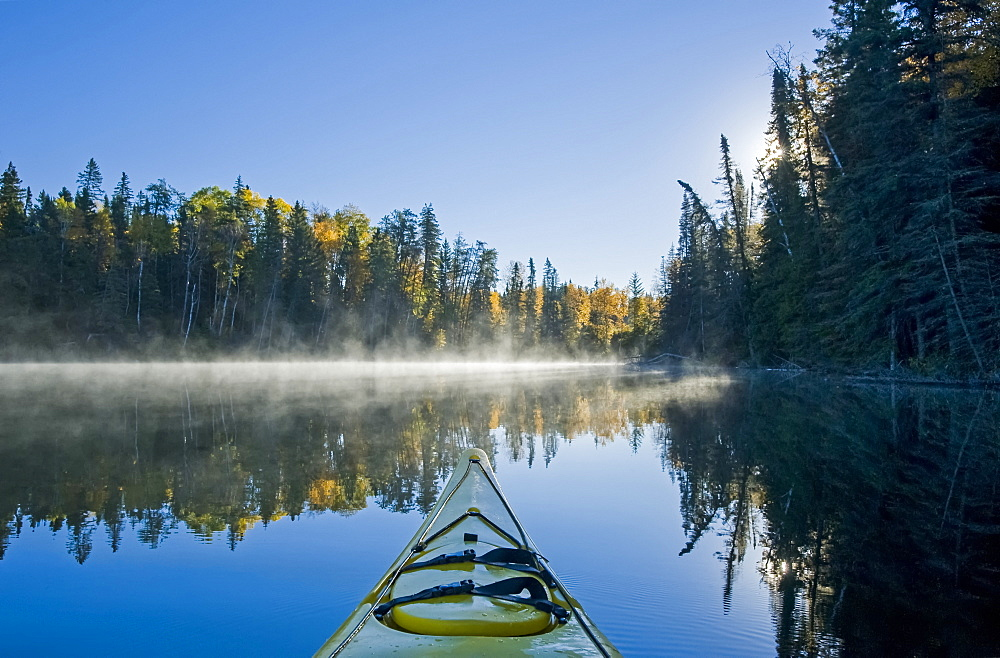 Kayaking at Glad Lake, Duck Mountain Provincial Park, Manitoba, Canada