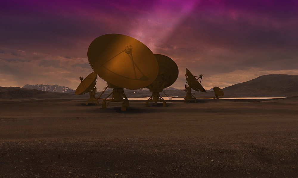 Computer generated composite image of satellite dishes