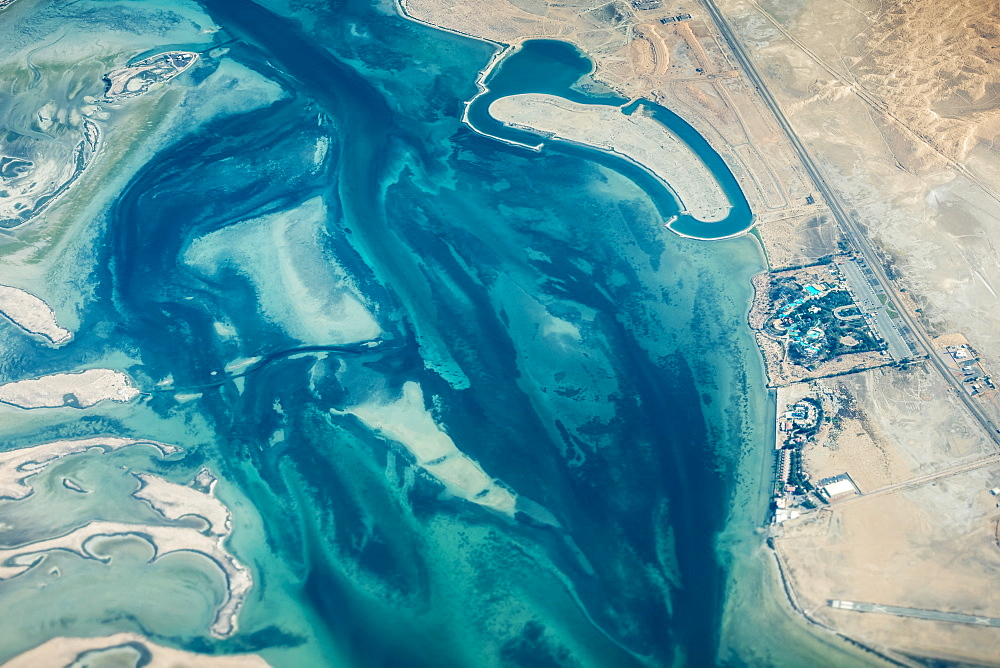 Aerial view of the Persian Gulf coast from the plane, Dubai, United Arab Emirates