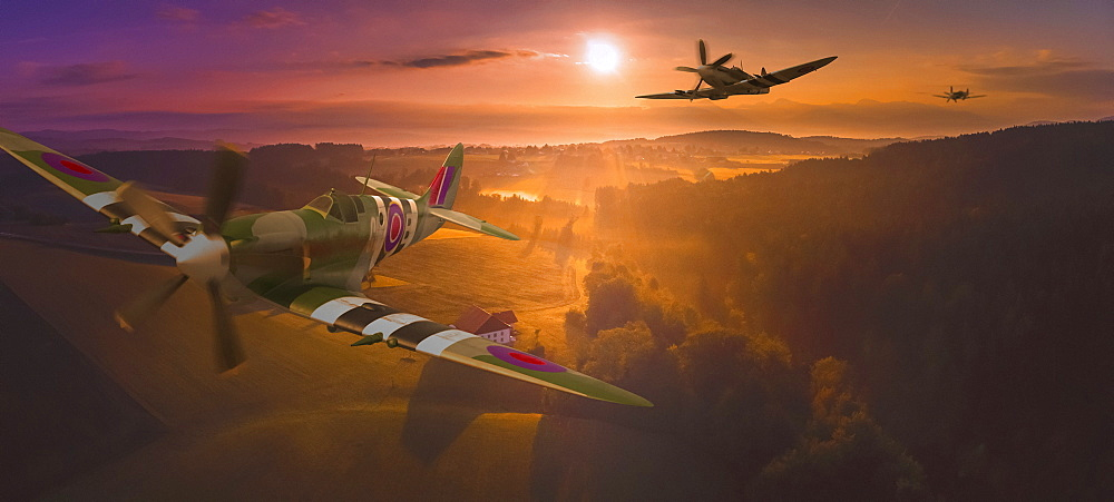 A squadron of Spitfires flying low over British Countryside, composite image