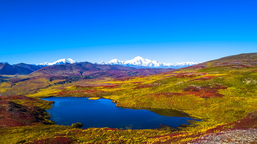 Denali National Park and Preserve as seen from Peters Hills with 20320' Mount Denali, formally know as Mount McKinley, and the Alaska Range, Trapper Creek, Alaska, United States of America