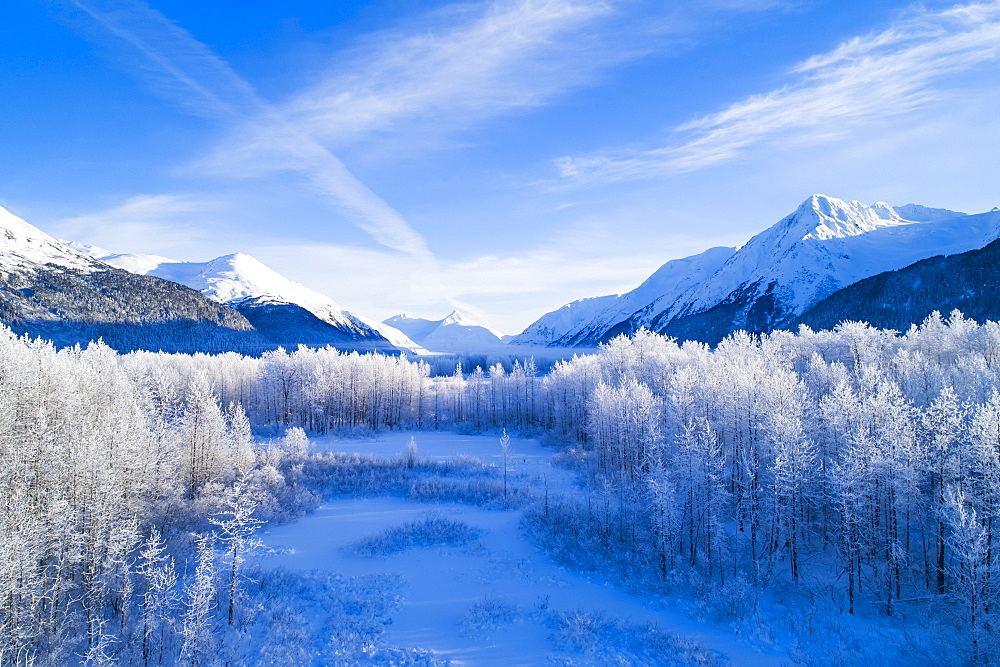 Winter scenic of mountains peaks and valley in Alaska, Portage Valley in South-central Alaska, Anchorage, Alaska, United States of America