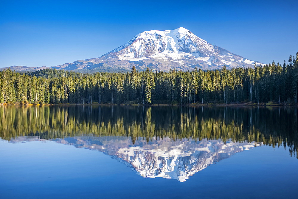 Mount Adams reflected in Takhlakh Lake, Gifford Pinchot National Forest, Washington, United States of America