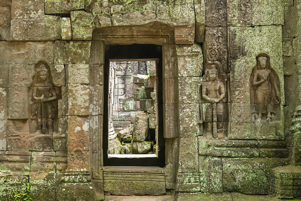 Stone doorway and bas-reliefs at Ta Som, Angkor Wat, Siem Reap, Siem Reap Province, Cambodia