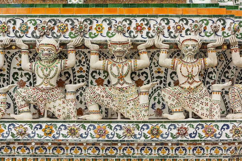 Mythological creatures on Temple of Dawn wall, Bangkok, Thailand
