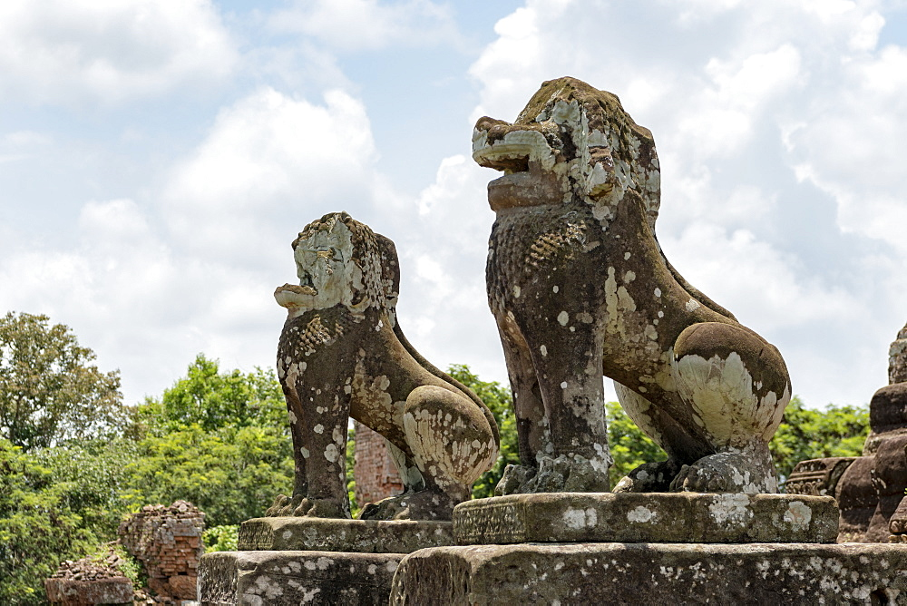 Stone lions covered in lichen guard temple, East Mebon, Angkor Wat, Siem Reap, Siem Reap Province, Cambodia