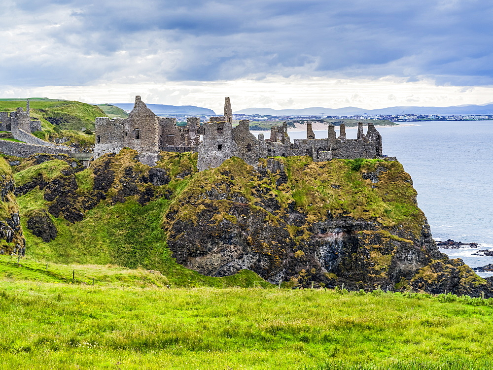 Dunluce Castle, a now-ruined medieval castle in Northern Ireland, Bushmills, County Antrim, Ireland