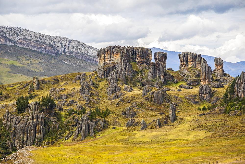 Los Frailones, massive volcanic pillars at Cumbemayo, Cajamarca, Peru
