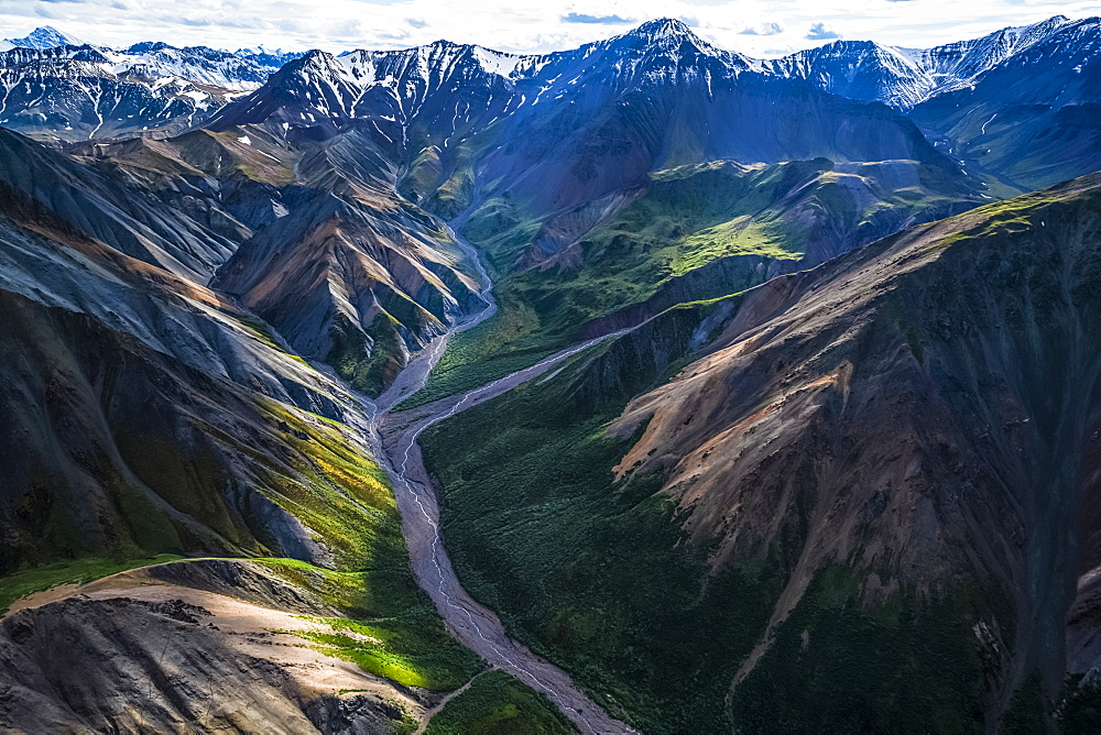 The mountains of Kluane National Park and Reserve seen from an aerial perspective, Haines Junction, Yukon, Canada