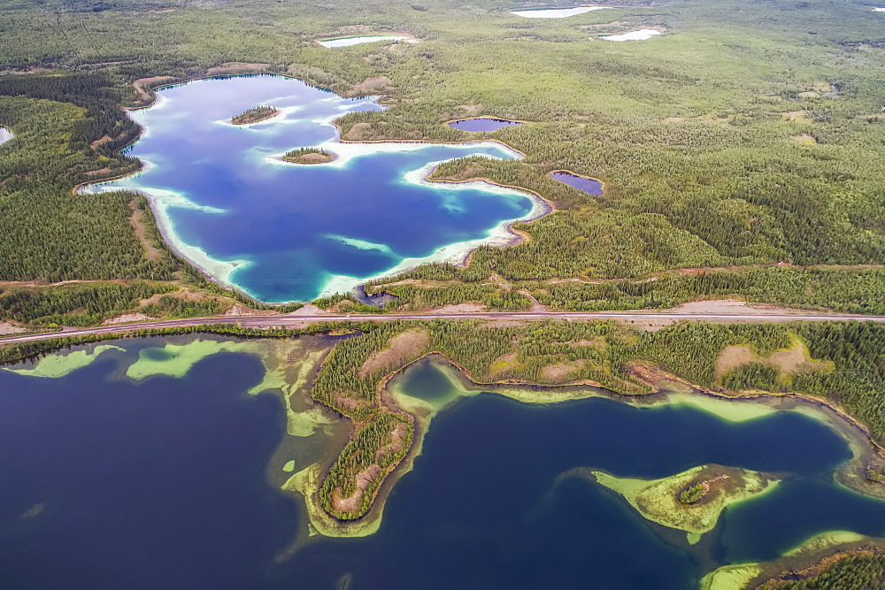 The Twin Lakes area near Carmacks, Yukon seen from an aerial perspective. The Klondike Highway can be seen between the lakes, Carmacks, Yukon, Canada