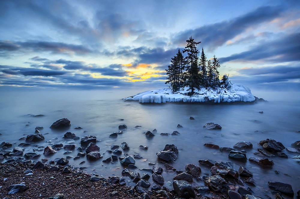 Island in Lake Superior at sunrise, Grand Marais, Minnesota, United States of America