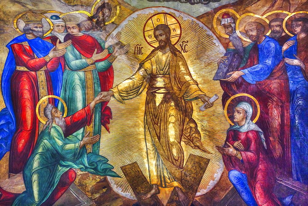 Fresco, Holy Dormition Cathedral, The Holy Trinity Saint Serguis Lavra, Sergiev Posad, Sergiyevo-Posadsky District, Moscow Oblast, Russia