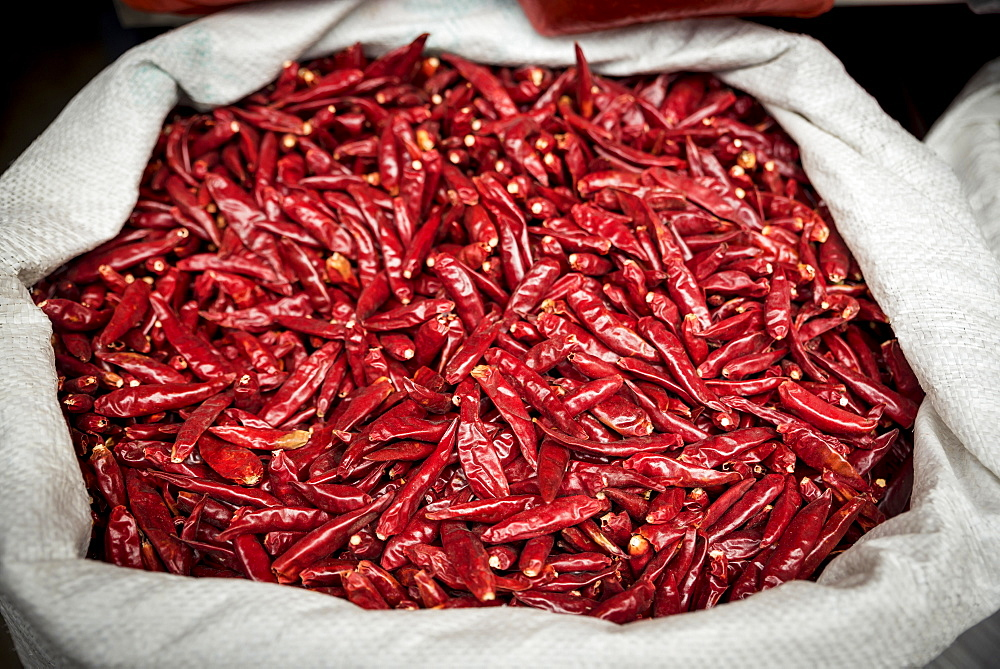 Dried red peppers for sale, Xian, Shaanxi Province, China