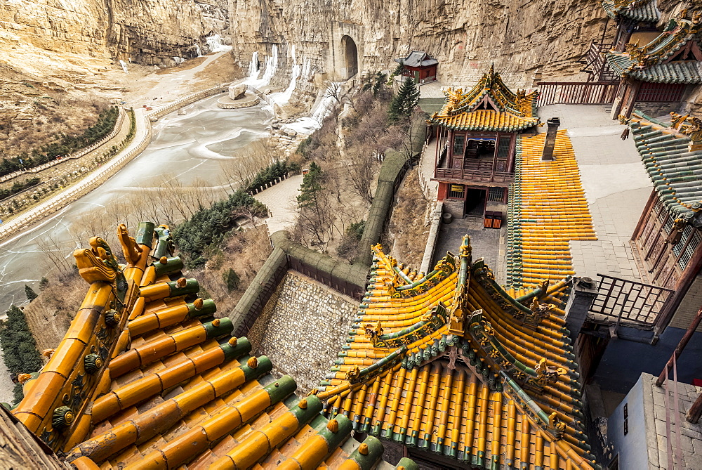 The Hanging Temple, also known as Hanging Monastery or Xuankong Temple, near Datong, China