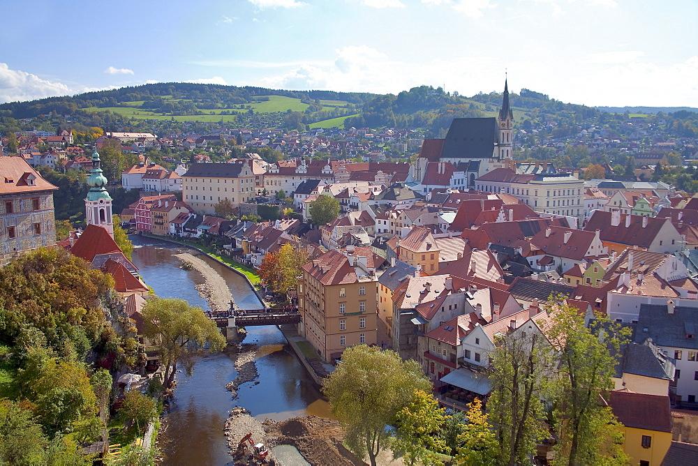 Cityscape of Cesky Krumlov, a world heritage site, Cesky Krumlov, Czech Republic