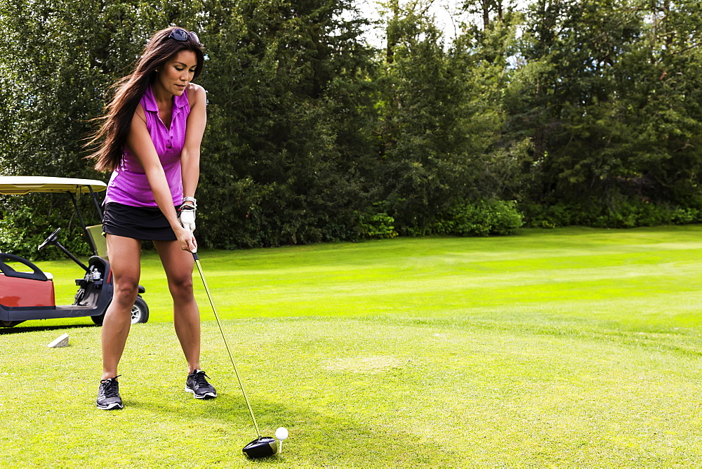 A female golfer lines up her driver to the golf ball as she sets up her shot on a tee, Edmonton, Alberta, Canada
